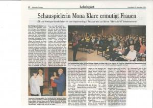 Artikel Mona Klare, Walsroder Zeitung, 05.12.2015